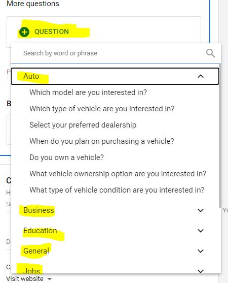 שאלות בטופס לידים מובנה של גוגל אדס