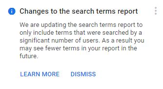 הודעה על שינויים בדוח ביטויי חיפוש