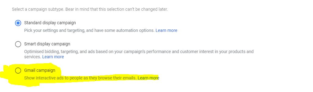 מודעת Gmail במערכת הגוגל אדס