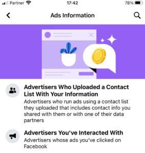 פייסבוק המידע שלי לשונית Ads Information