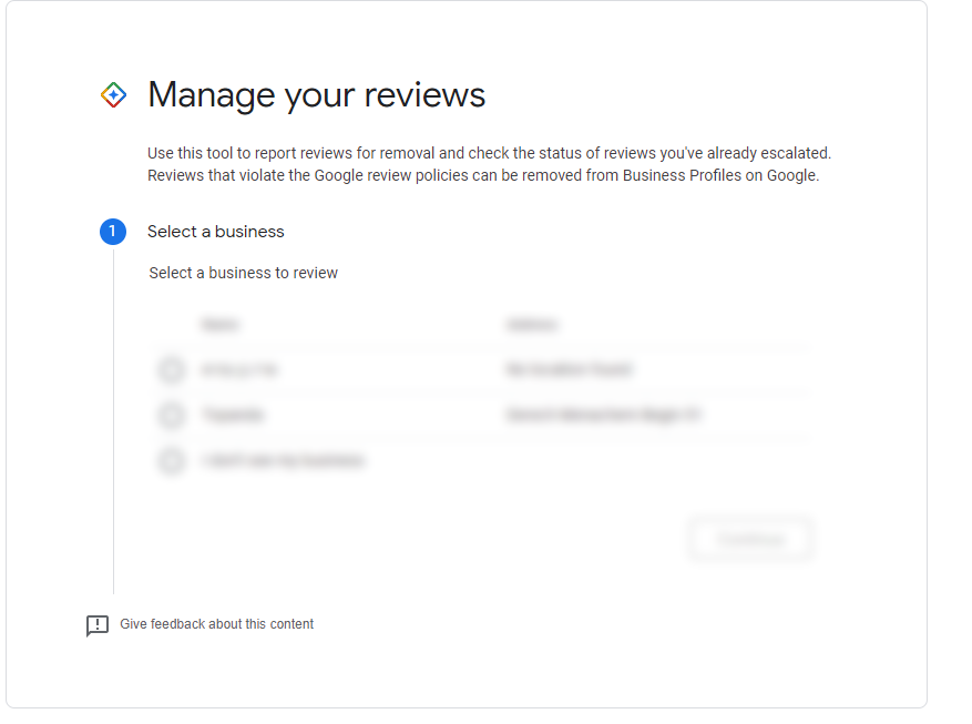 כלי ניהול ביקורות של גוגל לעסק שלי בחירת עסק