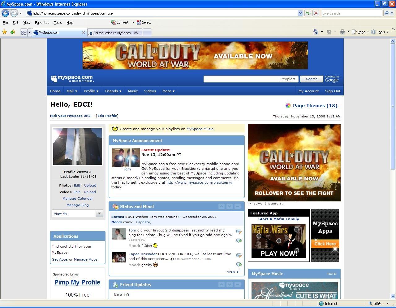 אתר מייספייס ב-2008