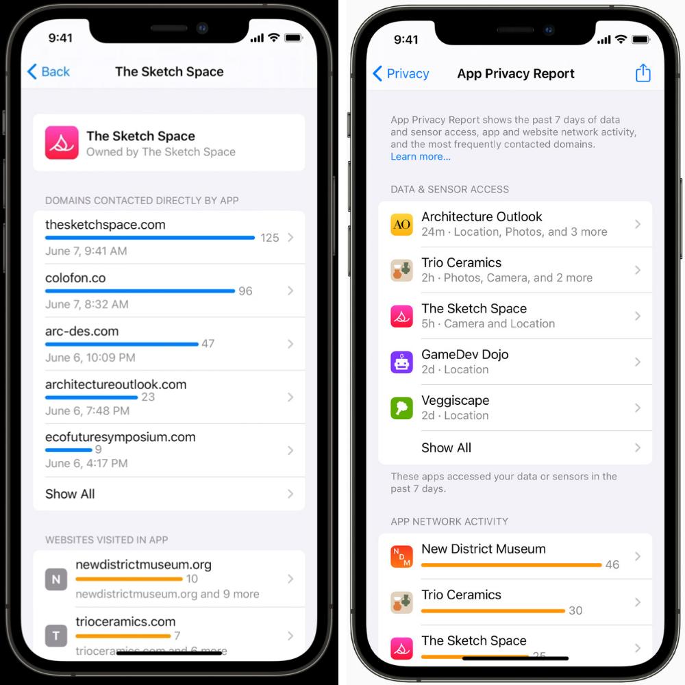 תצוגת מעקב גישת אפליקציות למידע iOS 15. מתוך אתר אפל